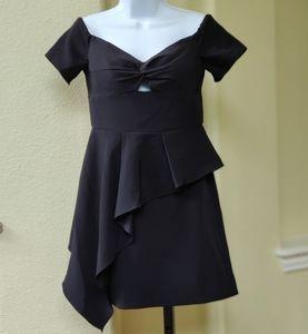 Milly Minis Alana Cady Off-Shoulder Black Dress